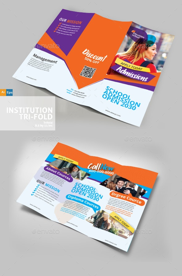 College Institution Trifold Brochure - Brochures Print Templates