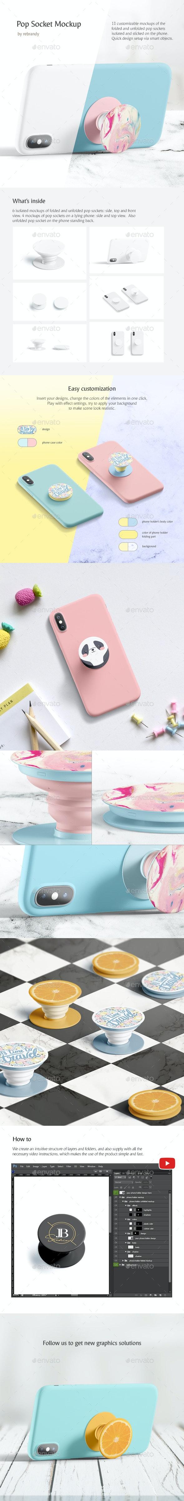 Pop Socket Mockup - Product Mock-Ups Graphics