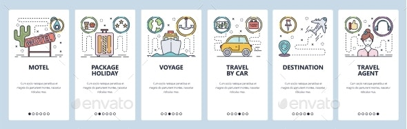Mobile App Onboarding Screens Summer Vacation - Travel Conceptual
