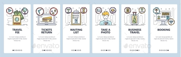 Mobile App Onboarding Screens Business Travel - Travel Conceptual