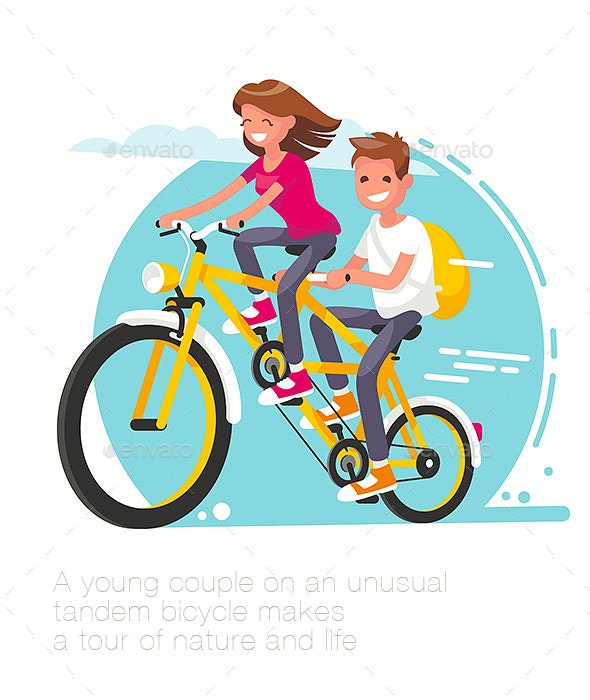 Young Couple on a Tandem Bike - Sports/Activity Conceptual