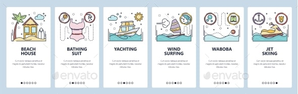Mobile App Onboarding Screens Summer Vacation - Sports/Activity Conceptual