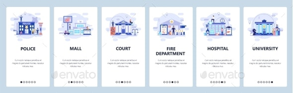 Mobile App Onboarding Screens City Buildings - Buildings Objects