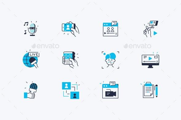 Vlog Line Icons Set - Miscellaneous Vectors