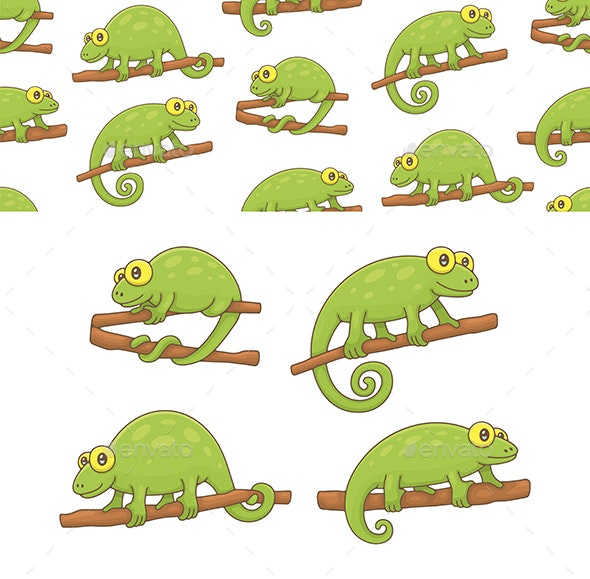 Set of Chameleons and Pattern - Animals Characters