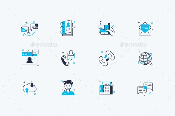 Communication Line Icons Set - Communications Technology