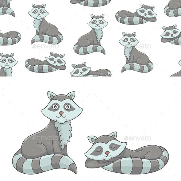 Set of Raccoons and Pattern