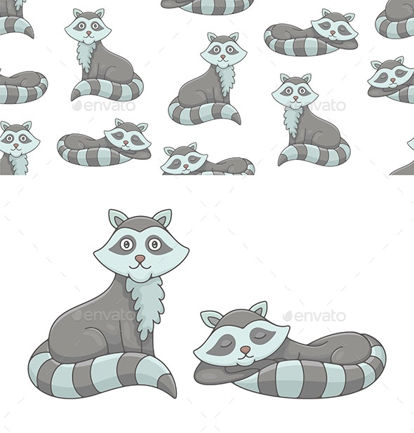 Set of Raccoons and Pattern - Animals Characters