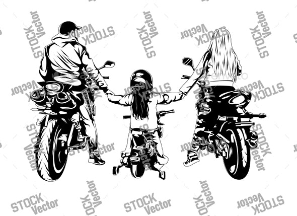 Biker Family - People Characters