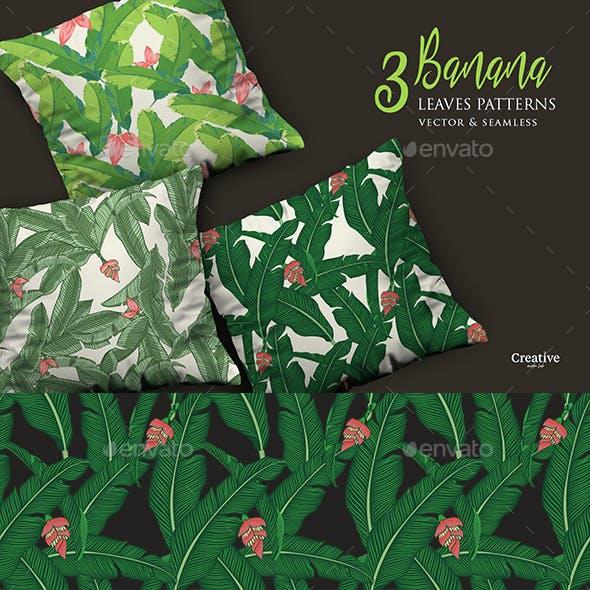 3 Vector Tropical Banana Leaves Patterns