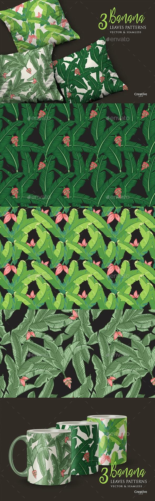 3 Vector Tropical Banana Leaves Patterns - Patterns Decorative
