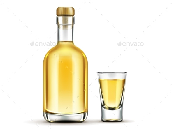Gold Tequila Bottle and Shot Glass Mock Up Drink - Food Objects