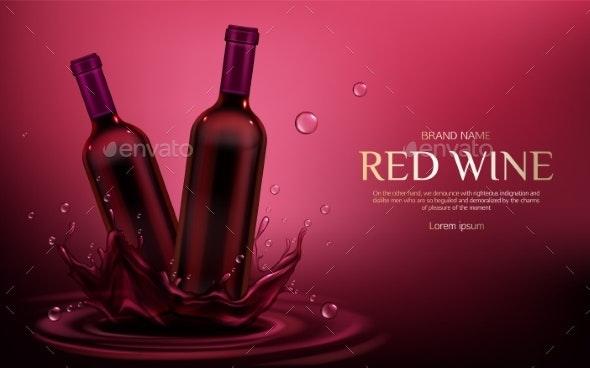 Red Wine Bottles Mockup - Food Objects