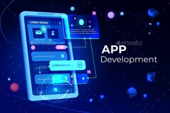 App Development Adaptive Layout Application Banner - Web Technology