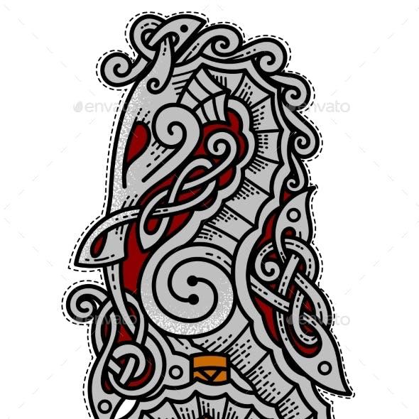 Viking Seahorse Logo with Thor's Hammer