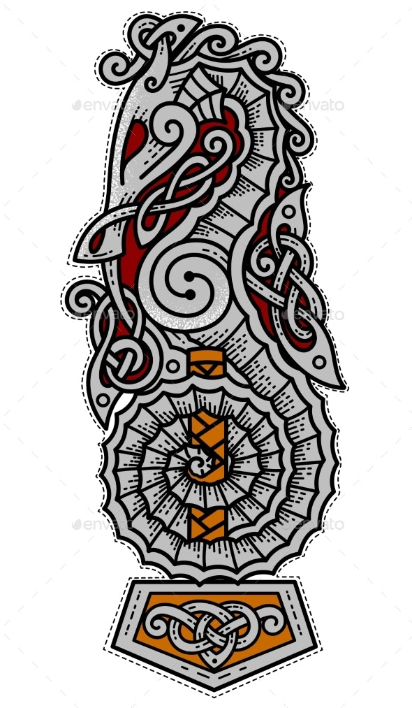 Viking Seahorse Logo with Thor's Hammer - Miscellaneous Vectors