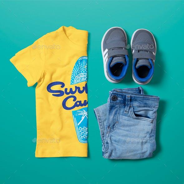 Crew Neck T-shirt Mock-up Boy's Version