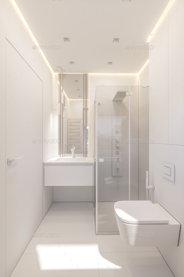 3d Illustration of a Bathroom in a Private Cottage - Architecture 3D Renders