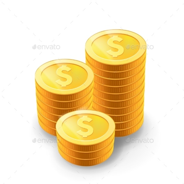 Vector Illustration of Golden Coins - Miscellaneous Vectors