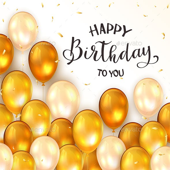 Golden Birthday Balloons and Confetti on White Background
