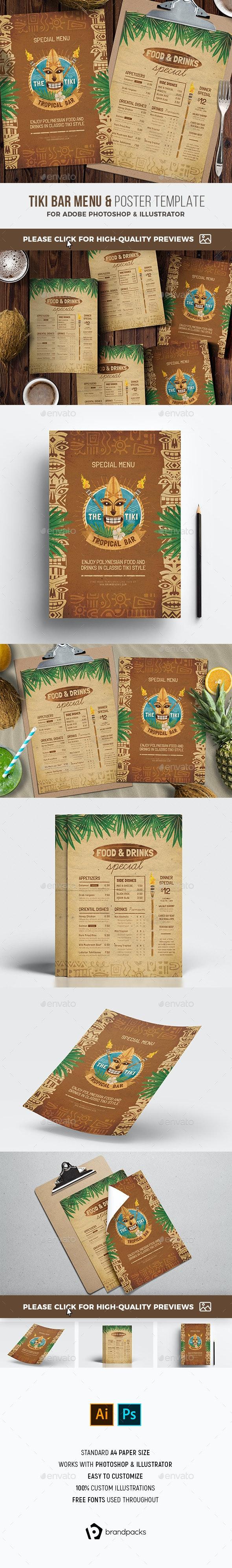 Tiki Bar Menu / Flyer - Food Menus Print Templates