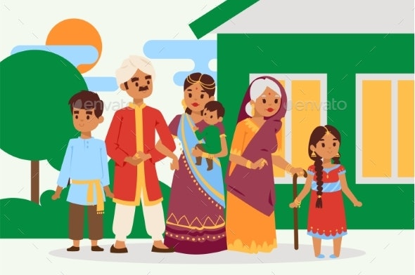 Big Happy Indian Family in National Dress Vector - People Characters