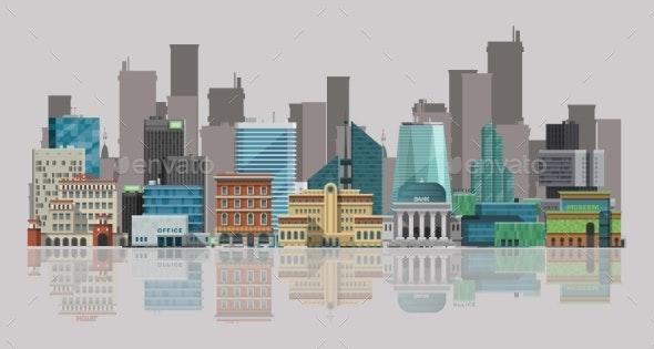 Cityscape Vector Illustration. Urban Landscape - Buildings Objects