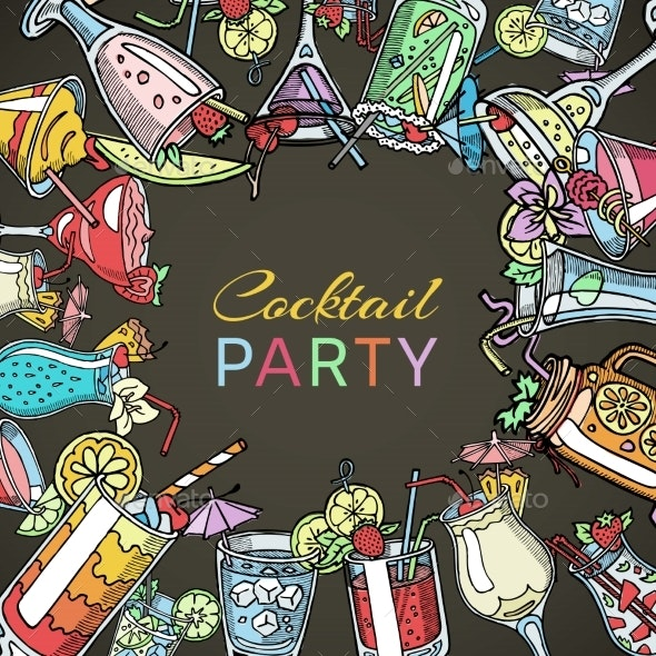 Coctail Drinks Party Summer Poster. Drinking - Food Objects