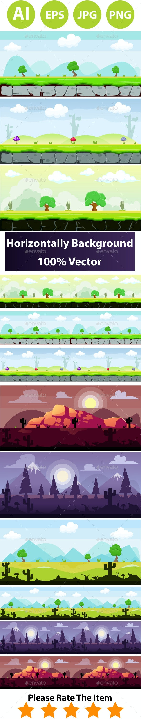 6 Game Background Bundle - Backgrounds Game Assets
