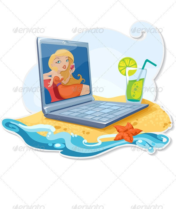 The Laptop On The Beach - Technology Conceptual