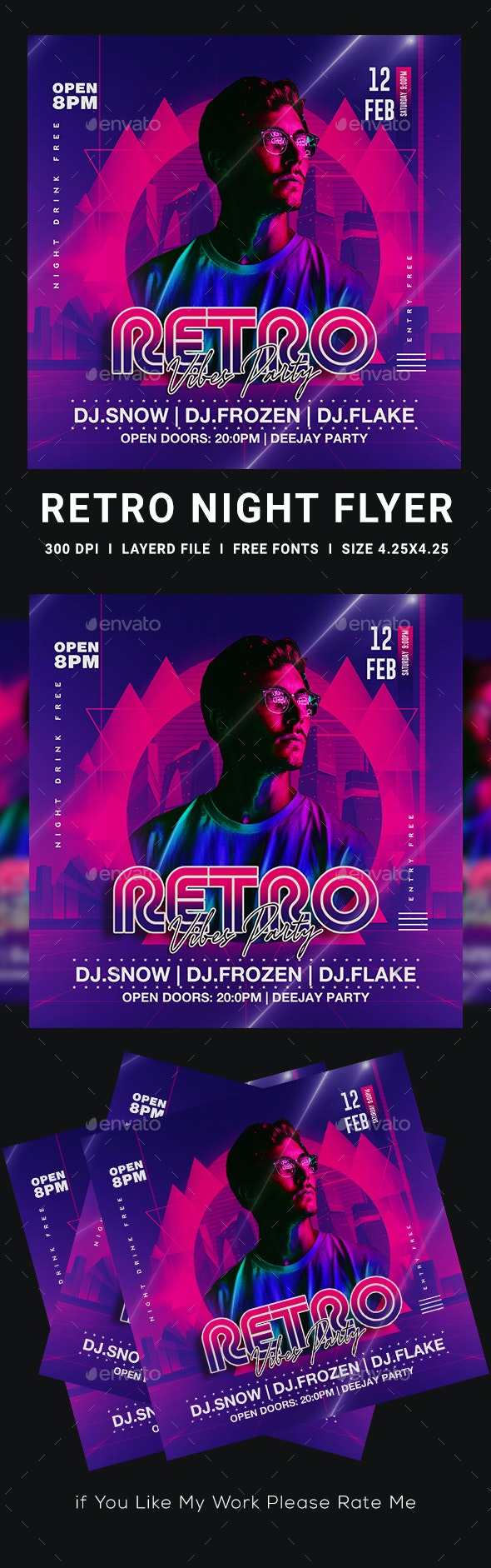 80's Retro Flyer - Clubs & Parties Events