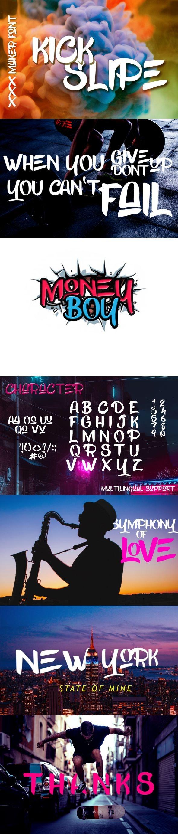 Kick Slipe Typeface - Decorative Fonts
