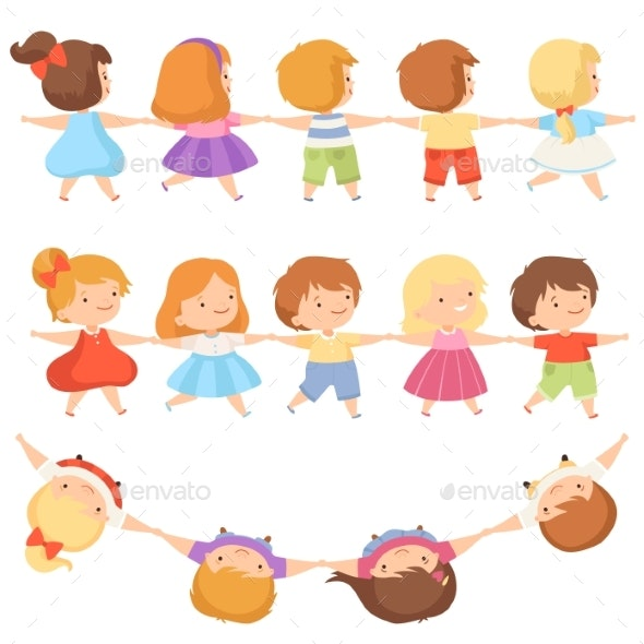 Kids Standing Together Holding Hands Set, Cute - People Characters