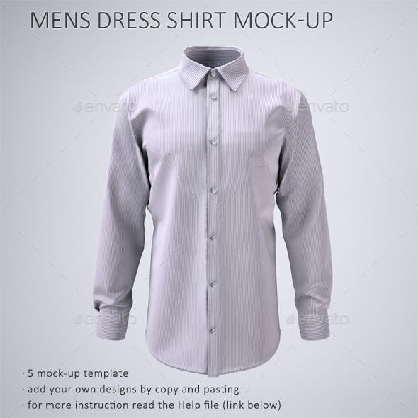 Men's Long Sleeve Dress Shirt Mock-Up