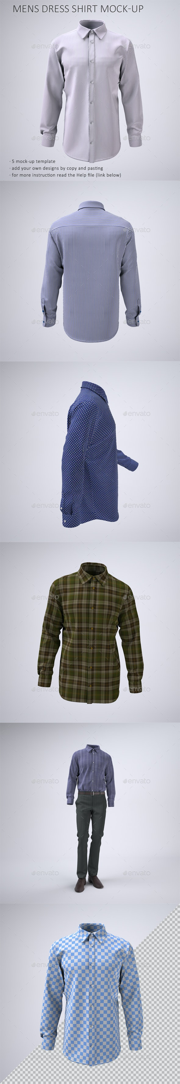 Men's Long Sleeve Dress Shirt Mock-Up - Apparel Product Mock-Ups