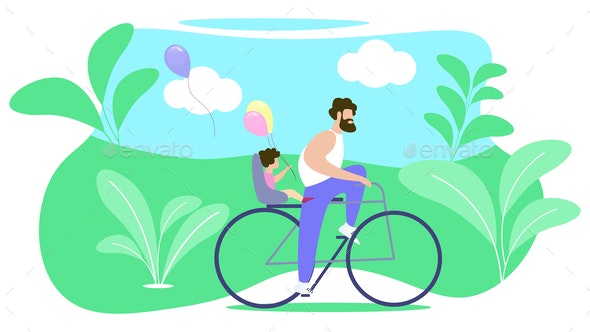 Father Rolls Child on Bike Vector Illustration. - Sports/Activity Conceptual