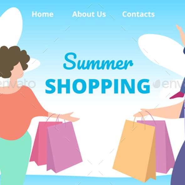 Flyer Invitation Summer Shopping Cartoon Flat.