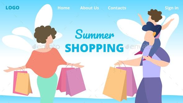 Flyer Invitation Summer Shopping Cartoon Flat. - Miscellaneous Vectors