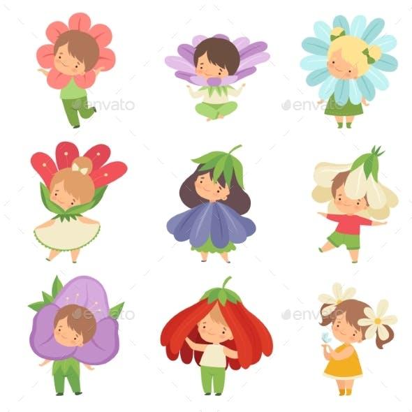 Cute Little Kids Wearing Flowers Costumes Set