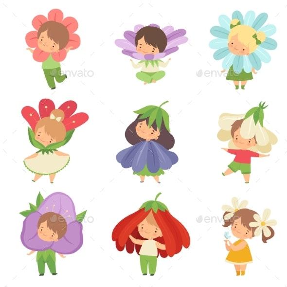 Cute Little Kids Wearing Flowers Costumes Set - People Characters