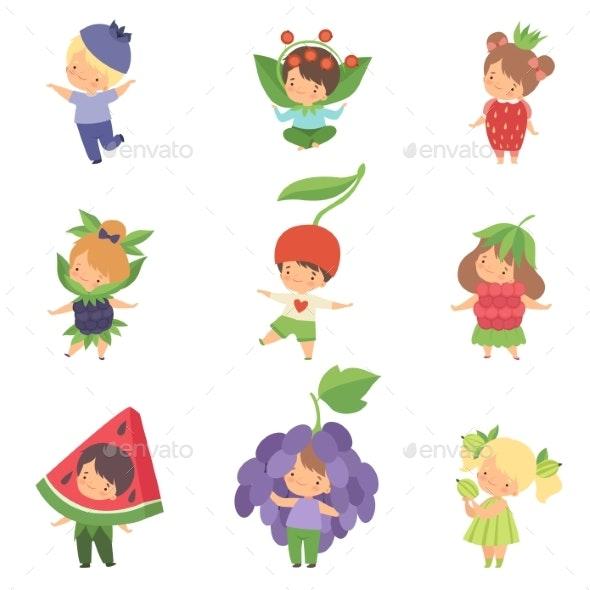 Cute Little Kids Wearing Berries Costumes Set - People Characters