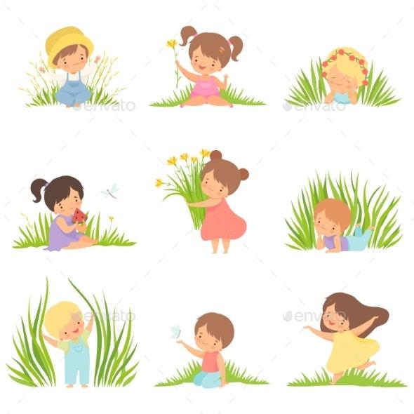 Cute Happy Kids Having Fun on Green Meadow Set - People Characters