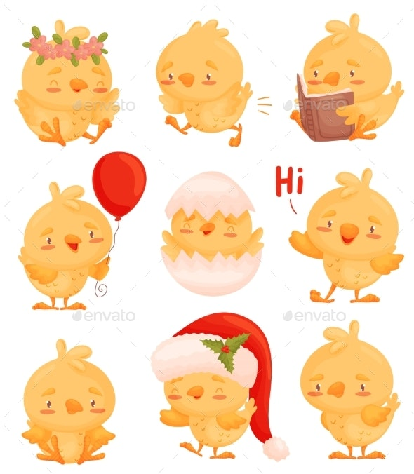 Set of Images of Chickens with Different Objects - Animals Characters