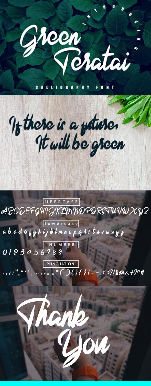 Green Teratai - Hand-writing Script