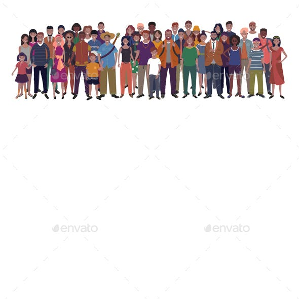 Large Group of People of Different Nationality Ethnicity and Age