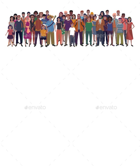Large Group of People of Different Nationality Ethnicity and Age - People Characters