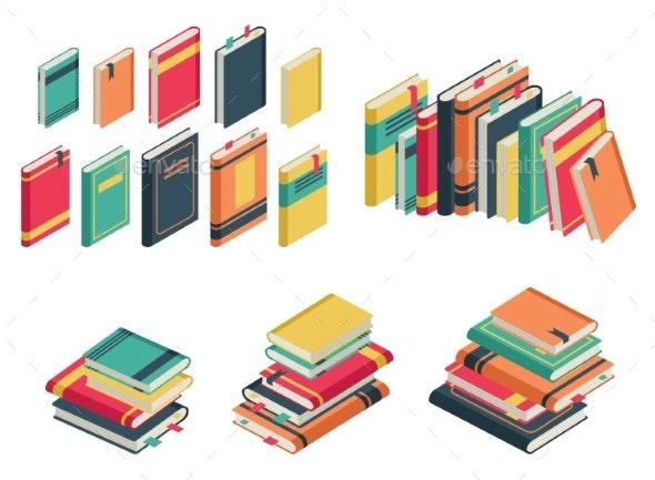 Isometric Book Set. Books School Library - Miscellaneous Vectors