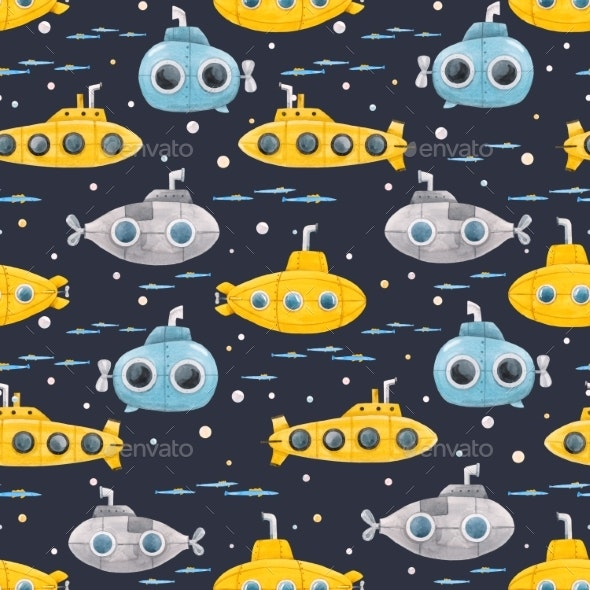Watercolor Underwater Submarine Pattern - Miscellaneous Illustrations