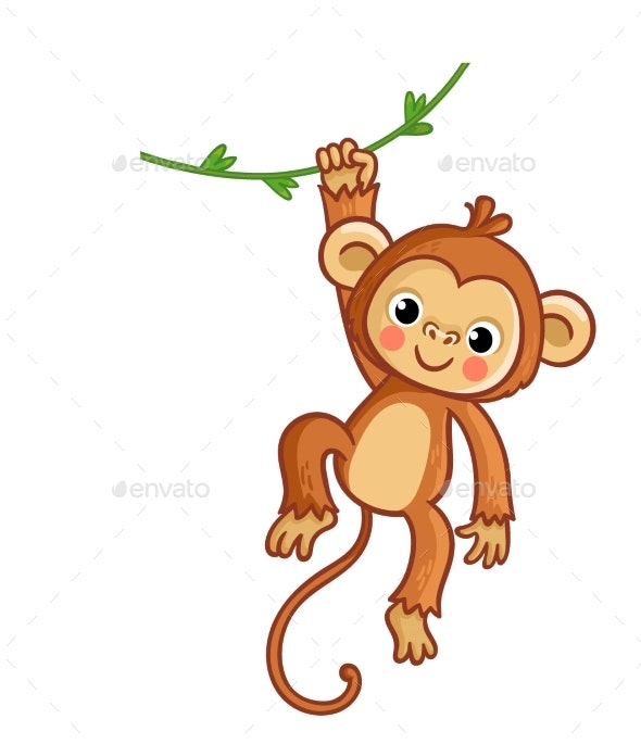 Monkey Hanging on Liana - Animals Characters