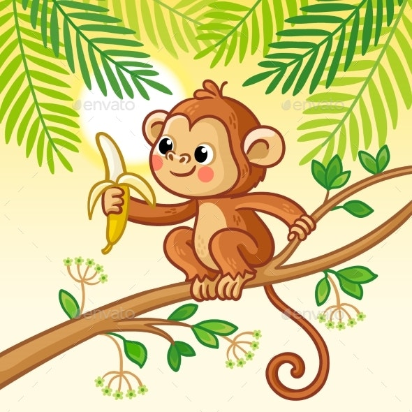 Monkey Sits on a Tree and Eats a Banana - Animals Characters